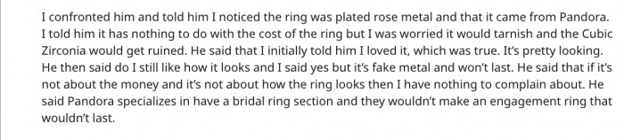 She confronted her fiance and he put it back on her saying she shouldn't care and that Pandora wouldn't make a ring that didn't last.