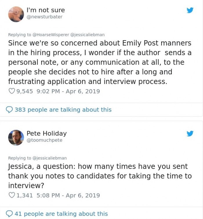 Some were interested to know if Jessica herself sends a thank you email to each candidate she interviews.