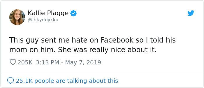 Here's her original Tweet: