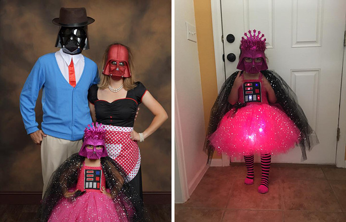 Her previous Halloween costume was Princess Vader inspired. She's already solidified a future in cosplay.