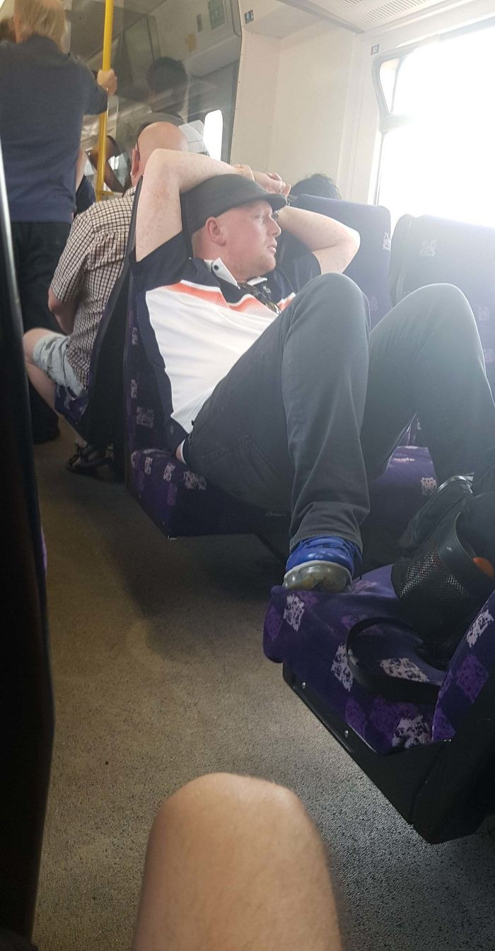 21. Just taking up 5 seats on a packed train.