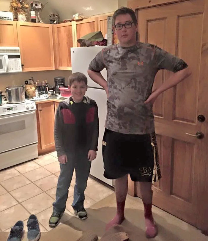My Brother And His Friend, Both Age 13. We Loved The Difference In Height