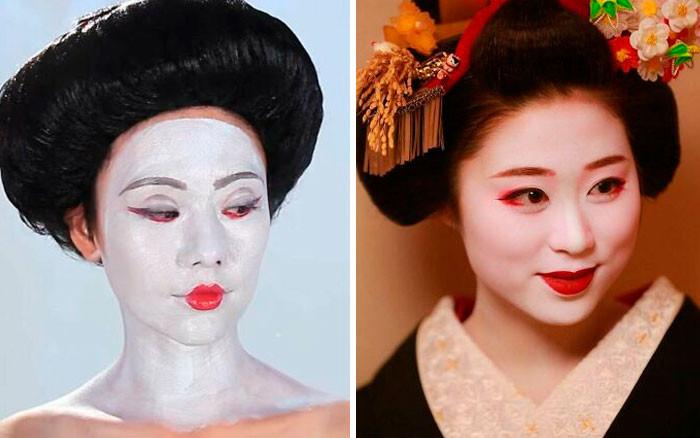 29. Buzzfeed's Geisha Makeup vs. Actual Geisha Makeup