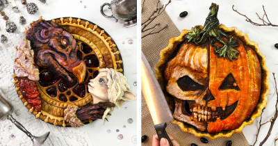 Baker Displays Her Art Through Spooky Halloween Pies, And They're Truly Amazing