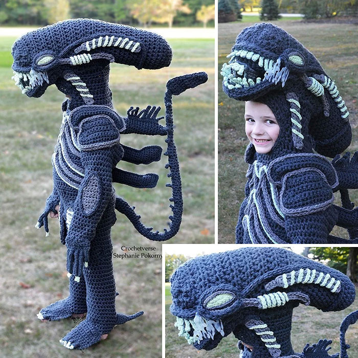 #44 Mom Crocheted This Xenomorph Costume For Her Son
