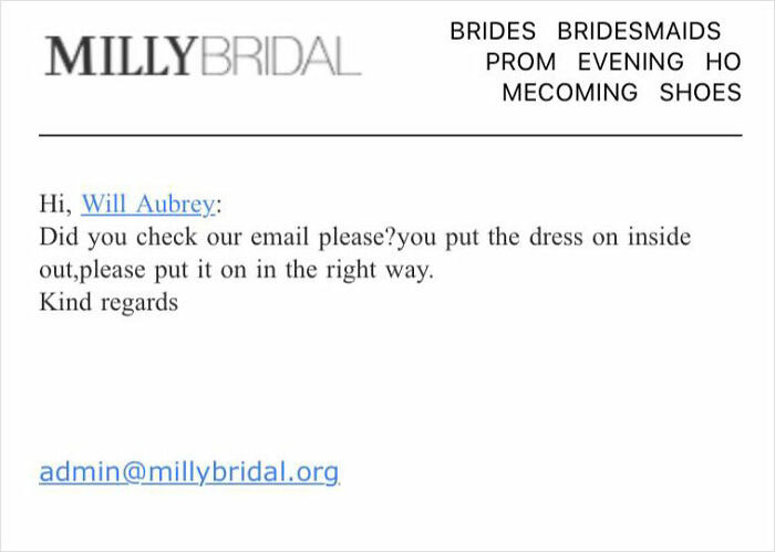 Here is the response from MillyBridal... lol