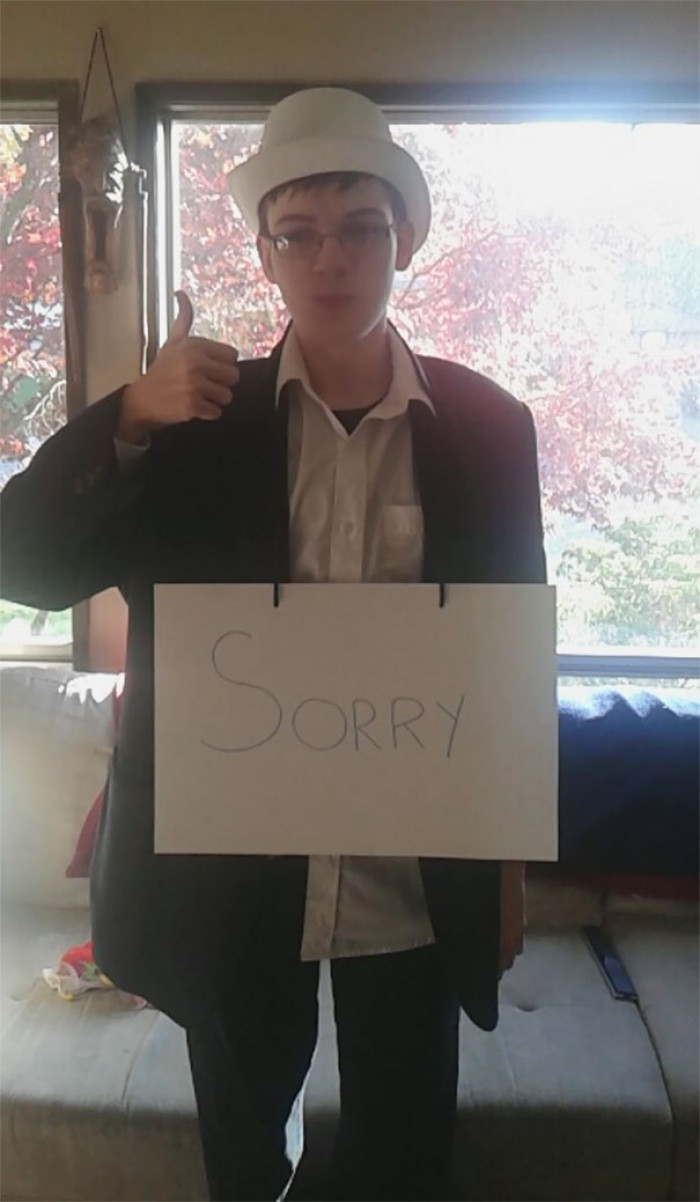#11 My Little Brother Has Autism, He Thinks A Little Differently Than The Rest Of Us.. This Year He Decided To Be A Formal Apology