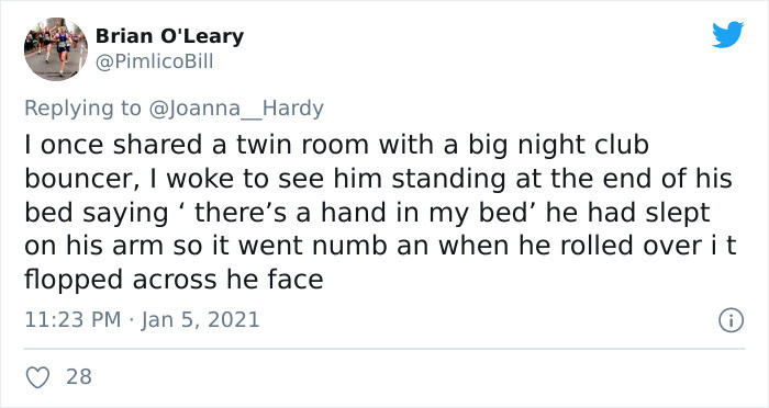 29. A hand in the bed