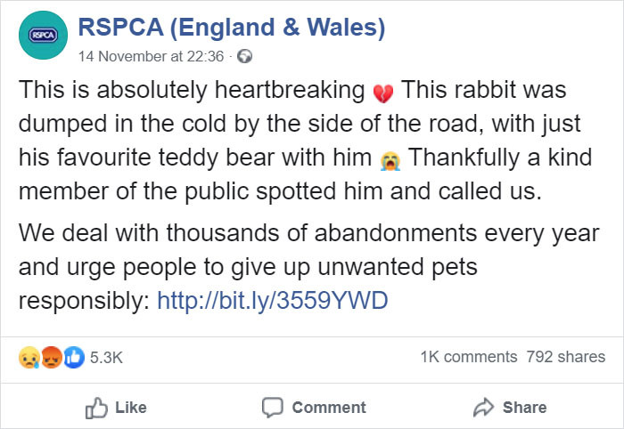 The original post made by the RSPCA