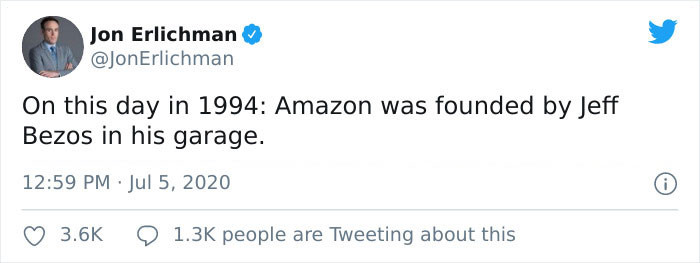 Jon Erlichman shared how Jeff Bezos started Amazon in his garage, implying that he was a self-made magnate