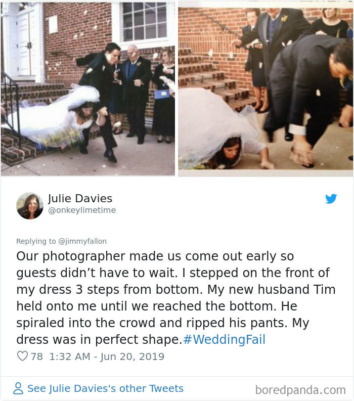 Splitting your pants on your wedding day? Can't say I saw that one coming.