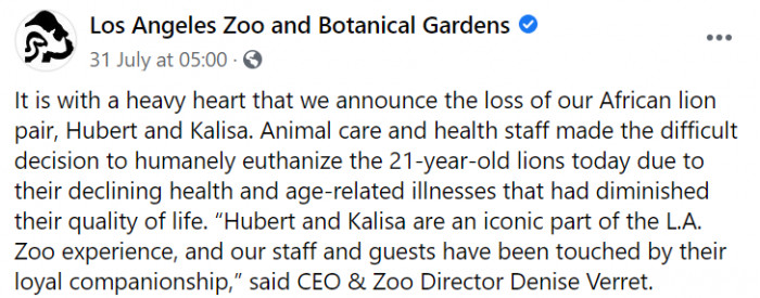 LA Zoo took to Facebook to share some devastating news about their beloved lion couple