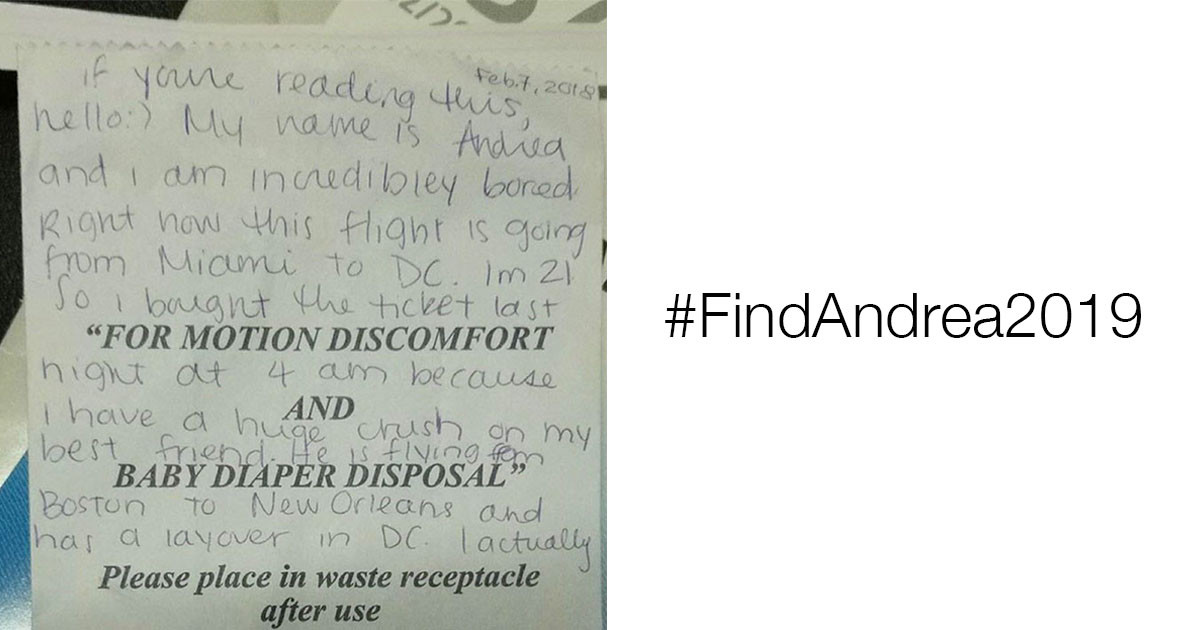 The Internet Is Searching For The Person Who Left This Note In An Airplane