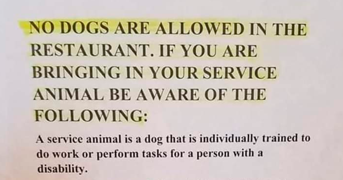Restaurant Bans All Emotional Support Animals Because They're Not Technically Service Animals