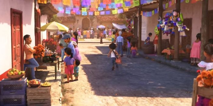 'In Coco (2017), A Collection Of Piñatas Of Other Pixar Characters Can Be Seen Hanging From A Building.'