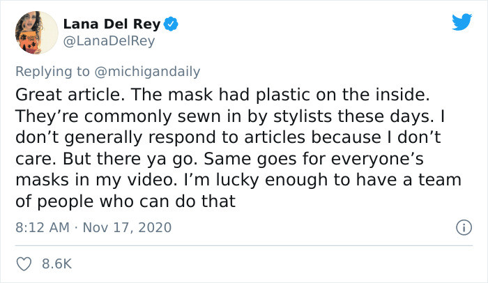 Lana read the article and decided to post a response.