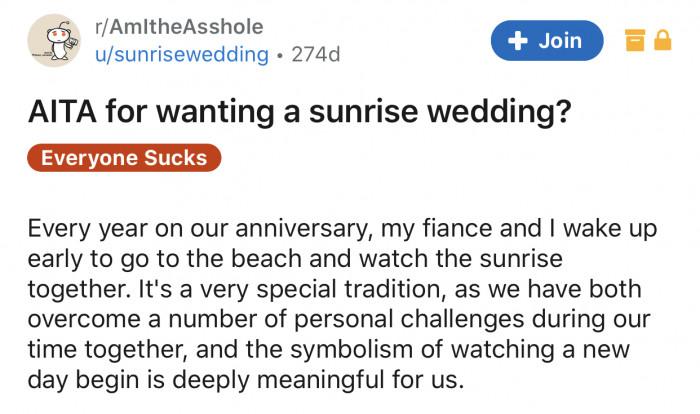 Here's the bride's original Reddit post: