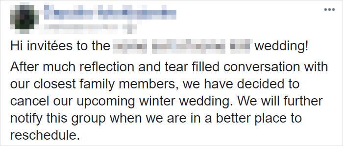 Here's the bride's original post: