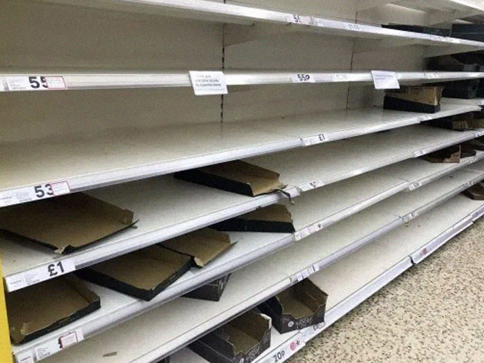 29. British shoppers are told not to panic, what do they do? Panic.