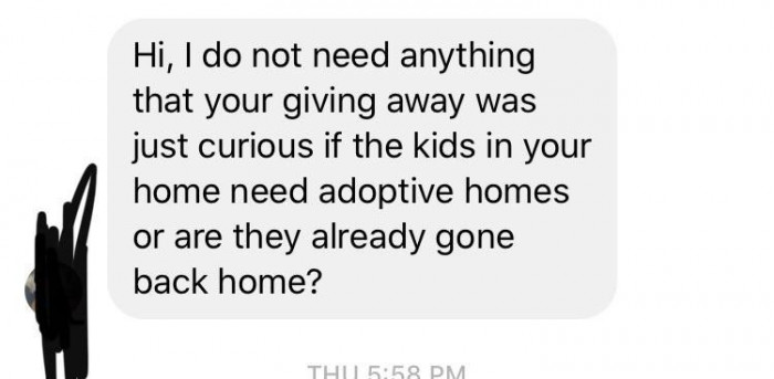 5. Yes, that is how you adopt children… via text messages.