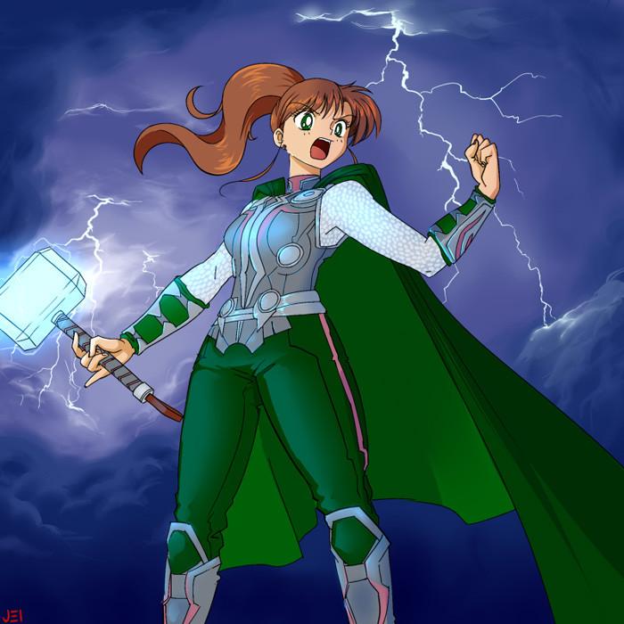 2. Sailor Jupiter as Thor