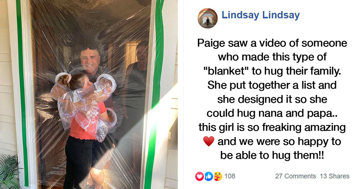 10-Year-Old-Girl Invents A 'Hugging Curtain' So She Can Hug Grandparents During Corona Virus Pandemic