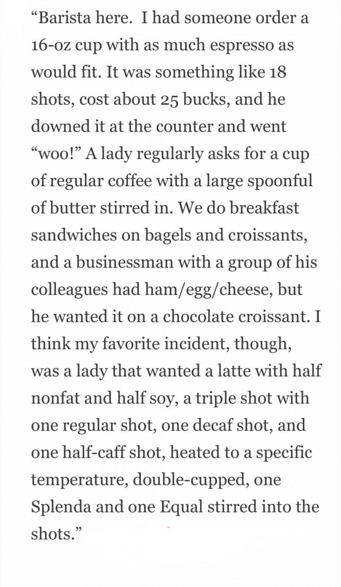 Tales from the Barista diaries.