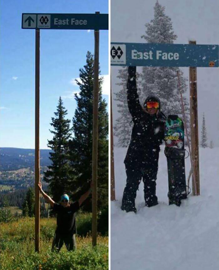 Ski Trail Sign In Summer vs. In Winter