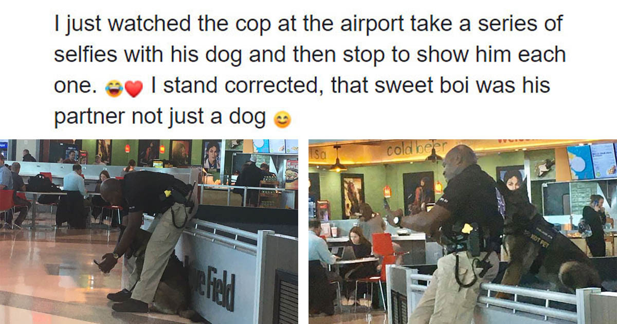Woman Shares Photos Of A Police Officer Taking Selfies With His Service Dog, And He Replies By Posting The Selfies He Made