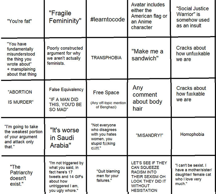 And then she made the Misogynist Bingo card.