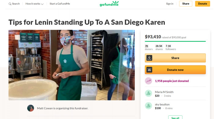 Matt Cowan started a GoFundMe campaign to show support for the barista