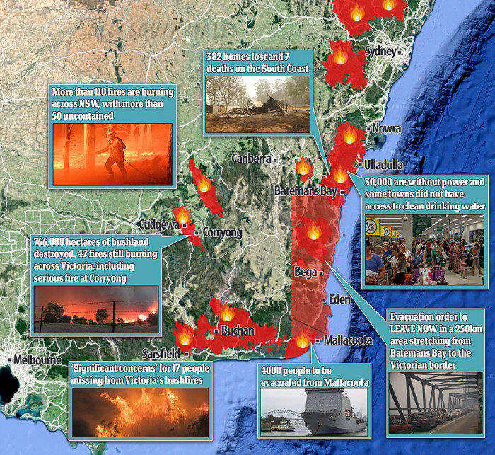 250km stretch of the New South Wales south coast (pictured) had to be evacuated as dreadful bushfires endanger the area, along with an area of the Shoalhaven between Burrill Lake north and Nowra