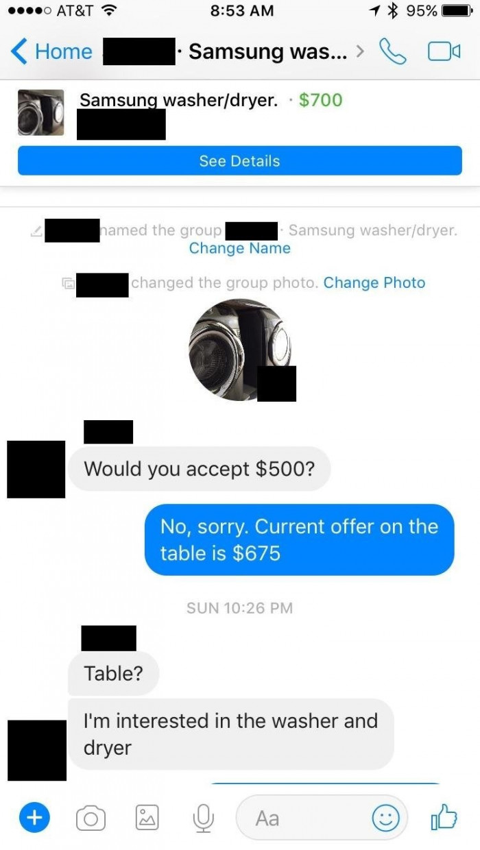 """2. I am not interested in the """"current offer"""". I want the washer!"""