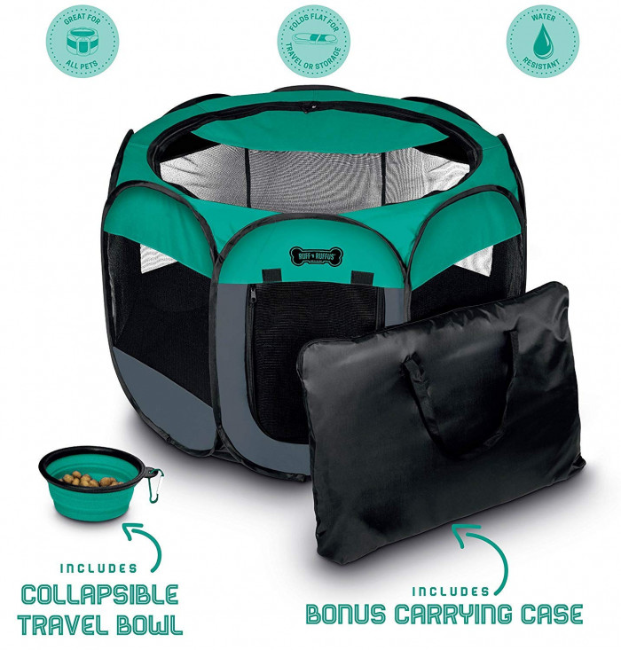 15. Ruff 'n Ruffus Portable Foldable Pet Playpen + Carrying Case & Collapsible Travel Bowl - $28.97 USD