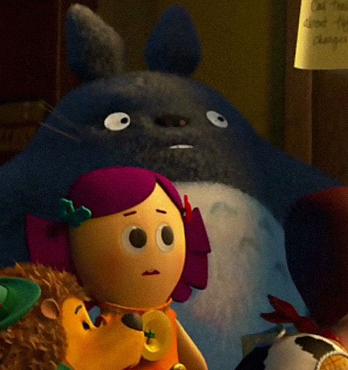 """'In The 2010 Film By Pixar """"Toy Story 3,"""" One Of The Toys Featured Is A Stuffed Totoro Doll From The Studio Ghibli Film """"My Neighbor Totoro"""".'"""