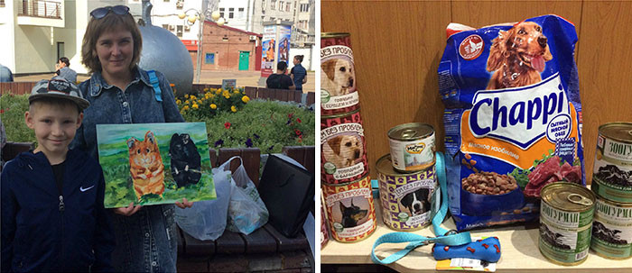 People have brought medicine for the dogs, collars, leashes, canned food, kibble food, and even toys in exchange for custom artwork of their pets.