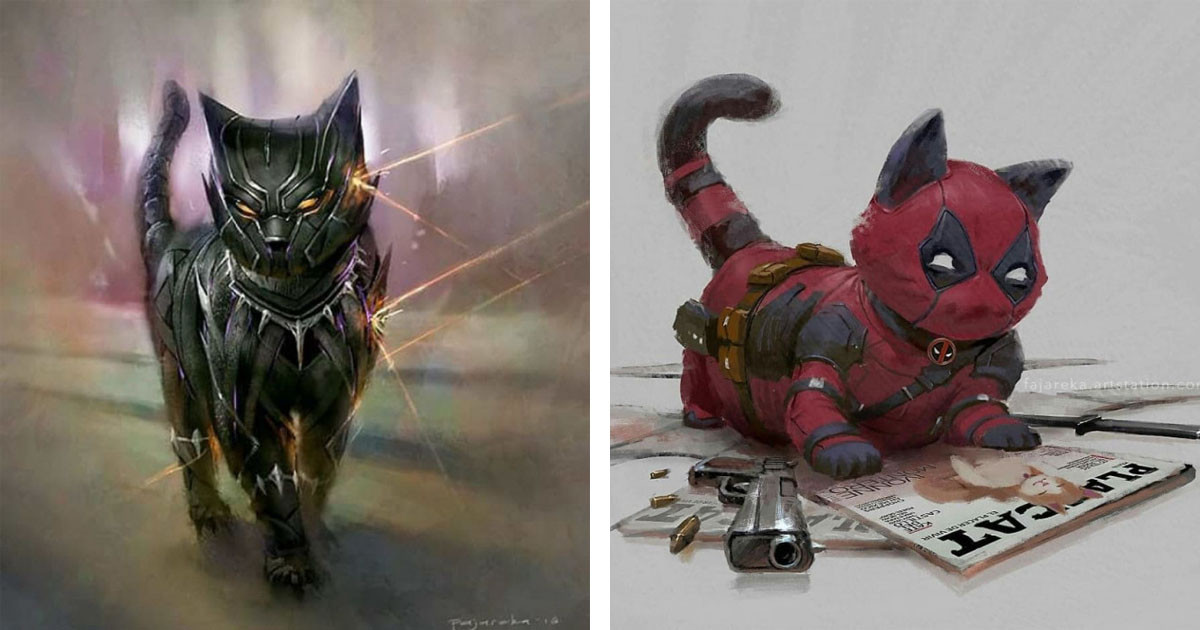 Artist Brilliantly Re-Imagines Marvel & DC Superheroes As Cats
