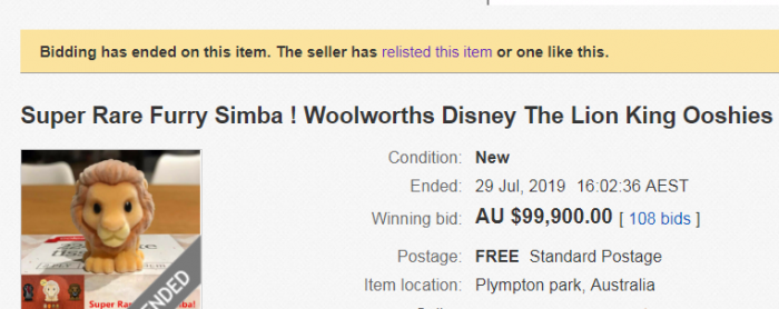 August 13 will mark the end of the Woolworths Lion King promotion or until they run out of stock.