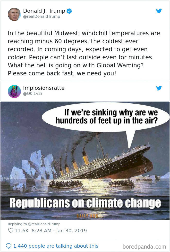 Trumps logic is like the titanic. Dead in the water.